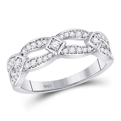 10kt White Gold Womens Round Diamond Fashion Band Ring 1/3 Cttw