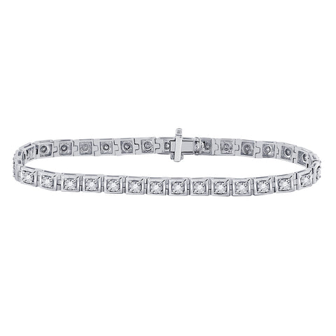 10kt White Gold Womens Round Diamond Fashion Tennis Bracelet 3/4 Cttw