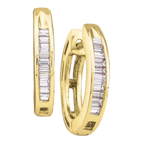 14kt Yellow Gold Womens Baguette Diamond Huggie Hoop Earrings 1/6 Cttw