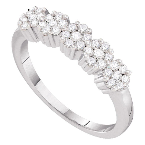14kt White Gold Womens Round Diamond Five Flower Cluster Ring 1/4 Cttw