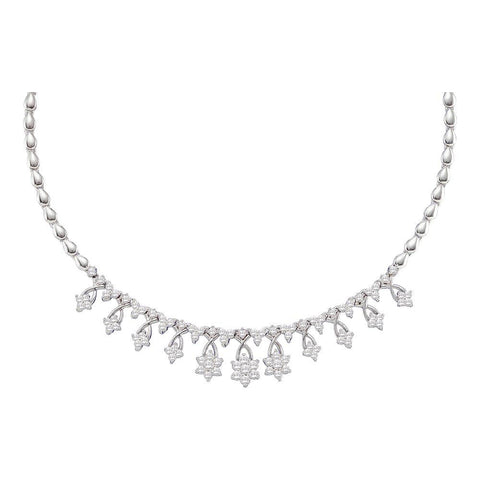 14kt White Gold Womens Round Diamond High-end Cluster Necklace 2 Cttw