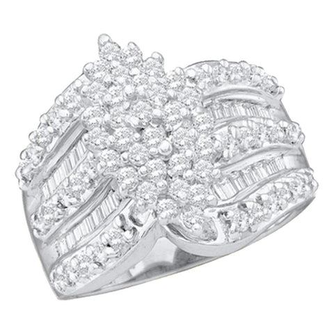 14kt White Gold Womens Round Diamond Marquise-shape Cluster Ring 1 Cttw