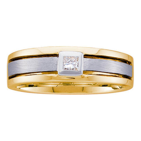 14kt Two-tone Gold Mens Princess Diamond Band Wedding Anniversary Ring 1/6 Cttw