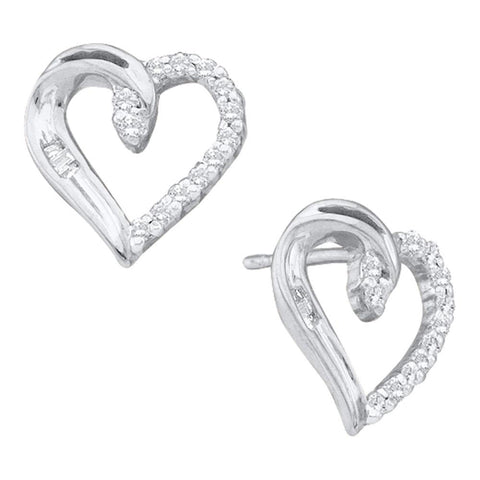 14kt White Gold Womens Round Diamond Heart Earrings 1/6 Cttw
