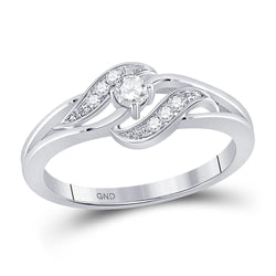 14kt White Gold Womens Round Diamond Solitaire Promise Ring 1/6 Cttw
