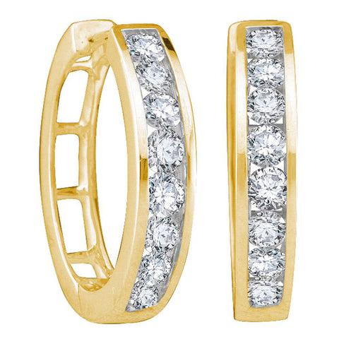 14kt Yellow Gold Womens Round Channel-set Diamond Hoop Earrings 1 Cttw