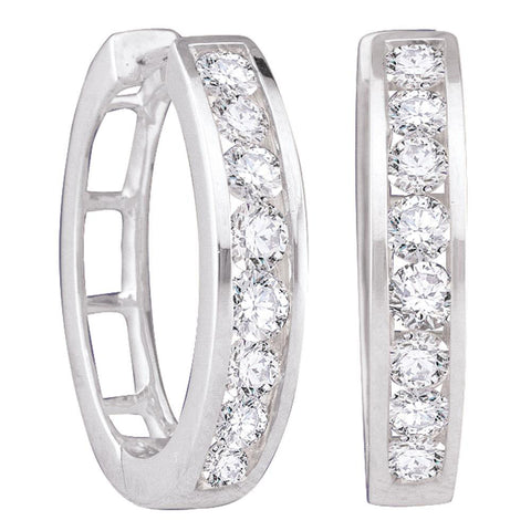 14kt White Gold Womens Round Diamond Hoop Earrings 1 Cttw