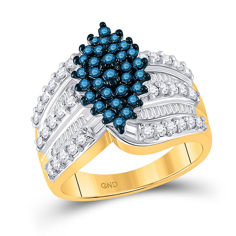 10kt Yellow Gold Womens Round Blue Color Enhanced Diamond Elevated Oval Cluster Ring 1 Cttw