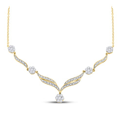 14kt Yellow Gold Womens Round Diamond Cluster Y-Shape Necklace 3/4 Cttw