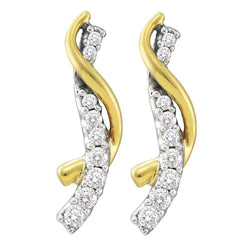 14kt Yellow Gold Womens Round Diamond Journey Earrings 1/2 Cttw