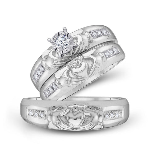 14kt White Gold His Hers Round Diamond Claddagh Matching Wedding Set 1/8 Cttw
