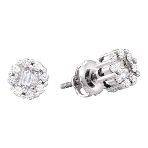 14kt White Gold Womens Round Baguette Diamond Cluster Stud Earrings 1/4 Cttw