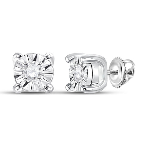10kt White Gold Womens Round Diamond Miracle Solitaire Earrings 1/20 Cttw