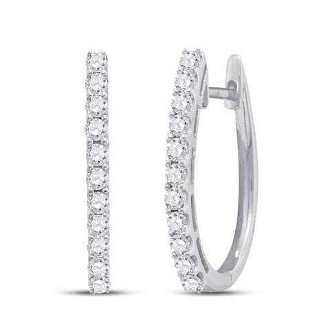 14kt White Gold Womens Round Diamond Single Row Hoop Earrings 1 Cttw