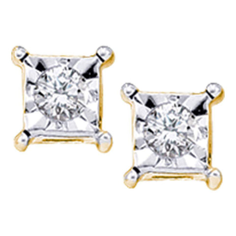 10kt Yellow Gold Womens Round Diamond Solitaire Earrings 1/20 Cttw