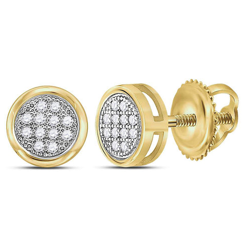 10kt Yellow Gold Womens Round Diamond Circle Cluster Earrings 1/20 Cttw