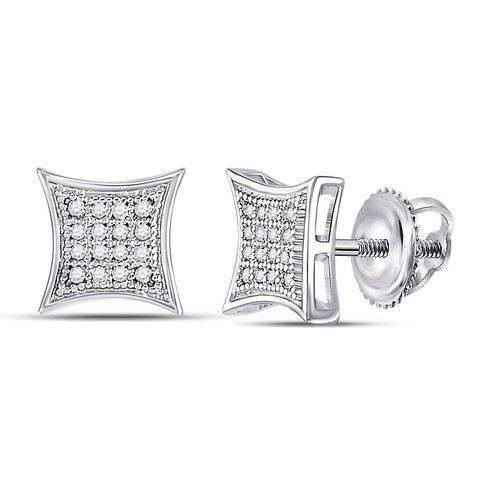 10kt White Gold Womens Round Diamond Kite Square Earrings 1/10 Cttw