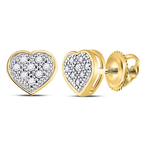10kt Yellow Gold Womens Round Diamond Heart Cluster Earrings 1/20 Cttw