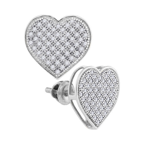 10kt White Gold Womens Round Diamond Heart Cluster Earrings 1/3 Cttw