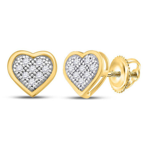 10kt Yellow Gold Womens Round Diamond Heart Earrings 1/20 Cttw