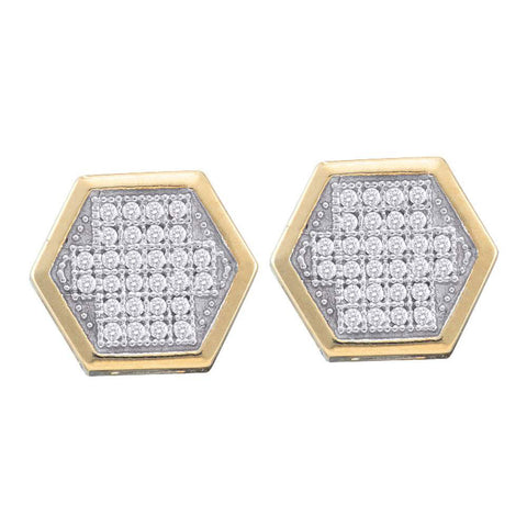 10kt Yellow Gold Womens Round Diamond Hexagon Cluster Earrings 1/5 Cttw