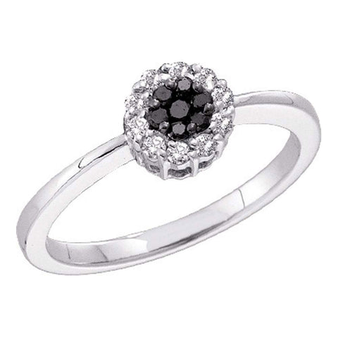 14kt White Gold Womens Round Black Color Enhanced Diamond Cluster Ring 1/4 Cttw