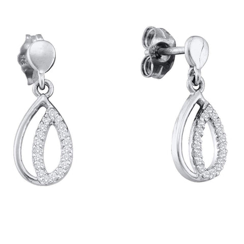10kt White Gold Womens Round Diamond Dangle Earrings 1/10 Cttw