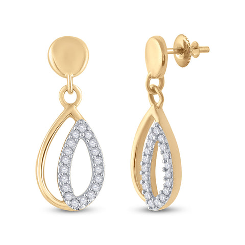 10kt Yellow Gold Womens Round Diamond Dangle Earrings 1/10 Cttw