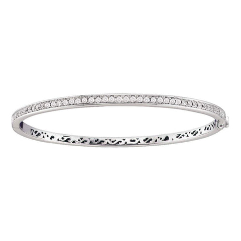 14kt White Gold Womens Round Diamond Classic Single Row Bangle Bracelet 1 Cttw