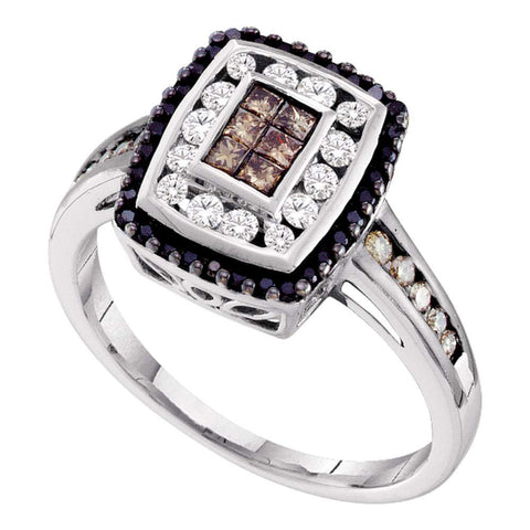 14kt White Gold Womens Princess Brown Diamond Fashion Ring 1/2 Cttw