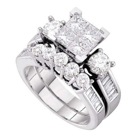 10kt White Gold Princess Diamond Bridal Wedding Ring Band Set 3 Cttw