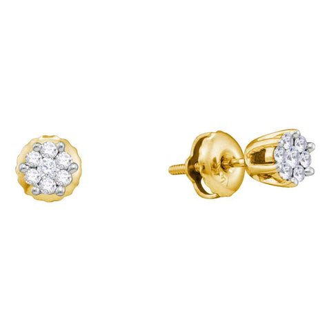 14kt Yellow Gold Womens Round Diamond Flower Cluster Earrings 1/6 Cttw