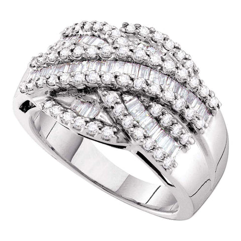 14kt White Gold Womens Baguette Round Diamond Crossover Band Ring 1 Cttw