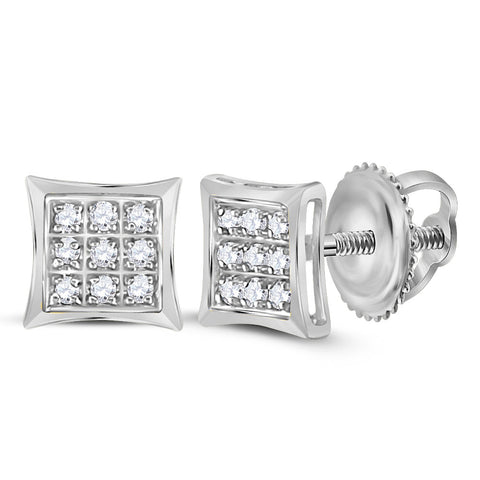10kt White Gold Womens Round Diamond Kite Square Earrings 1/20 Cttw