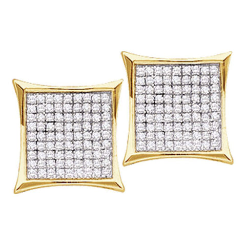14kt Yellow Gold Womens Round Diamond Square Cluster Earrings 1/6 Cttw