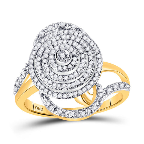 10kt Yellow Gold Womens Round Diamond Concentric Circle Layered Cluster Ring 1/2 Cttw