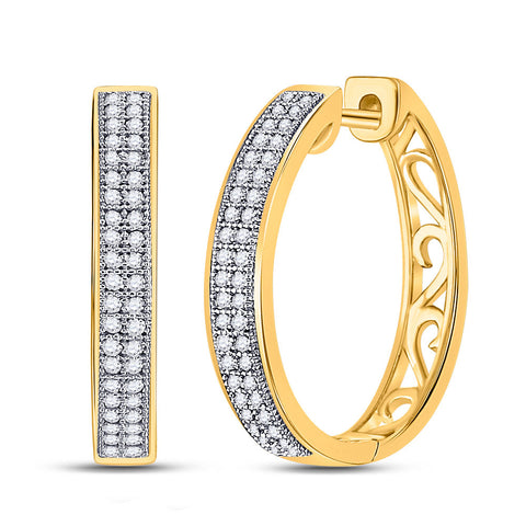10kt Yellow Gold Womens Round Diamond Double Row Pave Hoop Earrings 1/4 Cttw