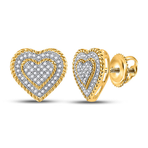 10kt Yellow Gold Womens Round Diamond Roped Heart Cluster Earrings 1/3 Cttw