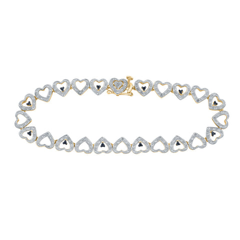 Yellow-tone Sterling Silver Black Color Enhanced Diamond Heart Link Bracelet 1/5 Cttw