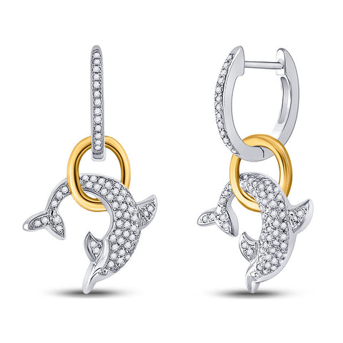 10kt Two-tone Gold Womens Round Diamond Dolphin Hoop Dangle Earrings 1/3 Cttw