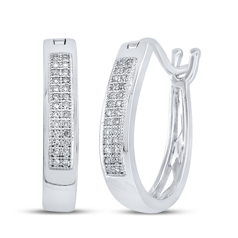 Sterling Silver Womens Round Diamond Oblong Double Row Hoop Earrings 1/6 Cttw