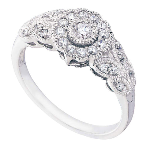 10kt White Gold Womens Round Diamond Solitaire Floral Cluster Milgrain Ring 1/3 Cttw