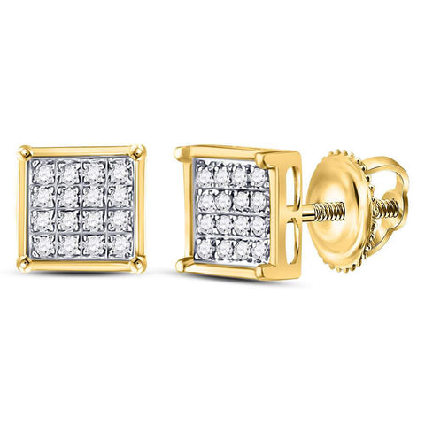 Yellow-tone Sterling Silver Womens Round Diamond Square Cluster Earrings 1/10 Cttw