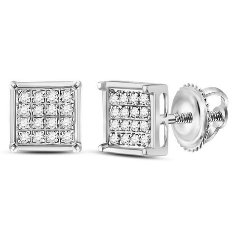 Sterling Silver Womens Round Diamond Square Cluster Earrings 1/10 Cttw