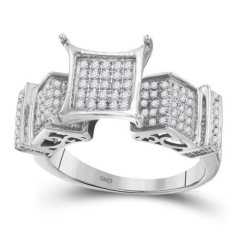 10kt White Gold Womens Round Diamond Elevated Square Cluster Ring 3/8 Cttw
