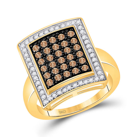 10kt Yellow Gold Womens Round Brown Diamond Rectangle Cluster Ring 1 Cttw