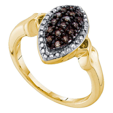 10kt Yellow Gold Womens Round Brown Diamond Oval Cluster Ring 1/5 Cttw