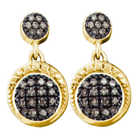 10kt Yellow Gold Womens Round Brown Diamond Dangle Earrings 1/4 Cttw