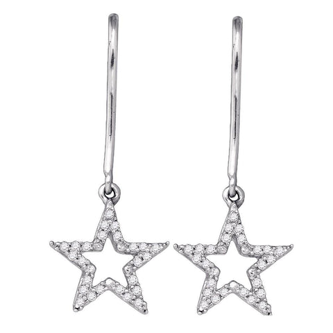 10kt White Gold Womens Round Diamond Star Dangle Earrings 1/5 Cttw