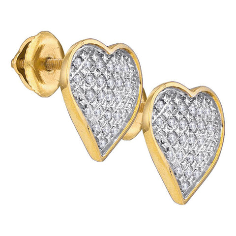 Yellow-tone Sterling Silver Womens Round Diamond Heart Earrings 1/6 Cttw